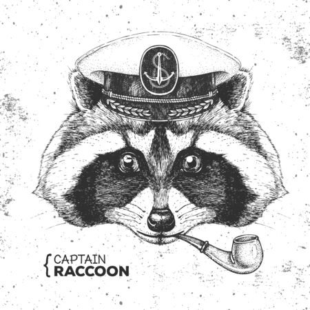 Hipster animal raccoon captains cap and smoking pipe. Hand drawing Muzzle of raccoon