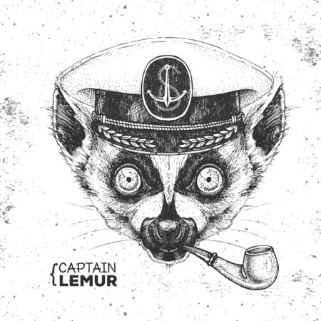 Hipster animal lemur captains cap and smoking pipe. Hand drawing Muzzle of lemur