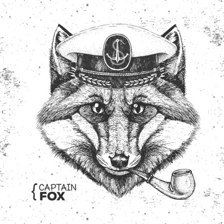 Hipster animal fox captains cap and smoking pipe. Hand drawing Muzzle of fox