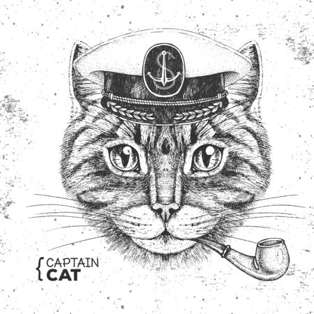 Hipster animal cat captains cap and smoking pipe. Hand drawing Muzzle of cat Ilustração
