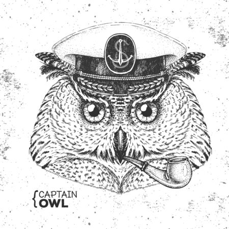 Hipster animal owl captains cap and smoking pipe. Hand drawing Muzzle of owl