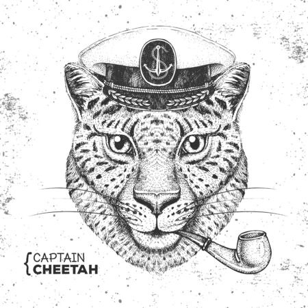 Hipster animal cheetah captains cap and smoking pipe. Hand drawing Muzzle of cheetah Ilustração