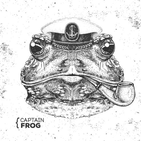 Hipster animal frog captains cap and smoking pipe. Hand drawing Muzzle of frog