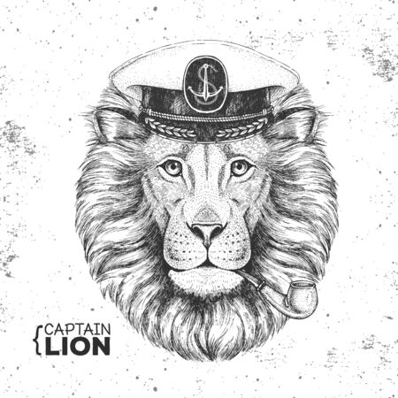 Hipster animal lion captains cap and smoking pipe. Hand drawing Muzzle of lion