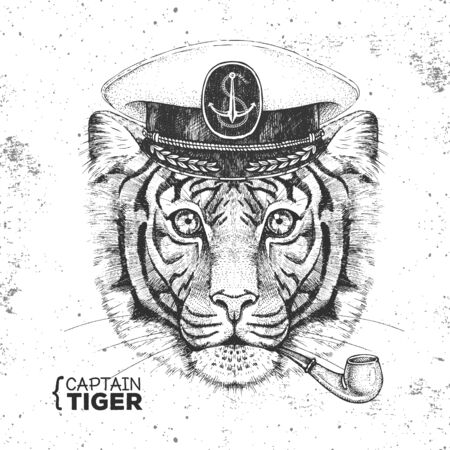 Hipster animal tiger captains cap and smoking pipe. Hand drawing Muzzle of tiger