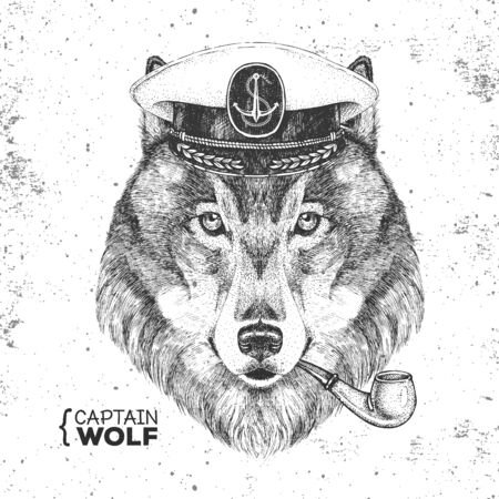 Hipster animal wolf captains cap and smoking pipe. Hand drawing Muzzle of wolf Ilustração