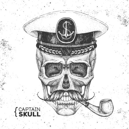 Hand drawing hipster skull with captains cap and smoking pipe on grunge background. Hipster fashion style Ilustração
