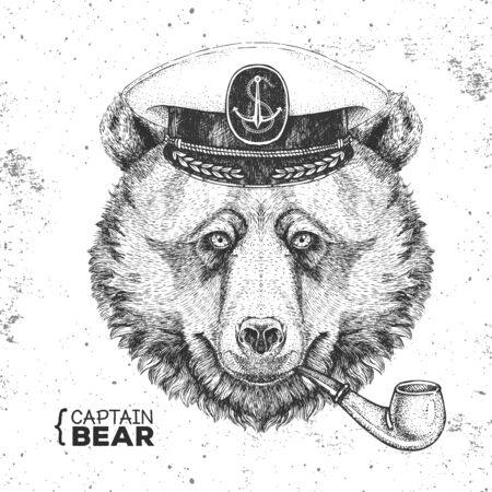 Hipster animal bear captains cap and smoking pipe. Hand drawing Muzzle of bear Ilustração