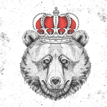Hipster animal bear in crown. Hand drawing Muzzle of bear