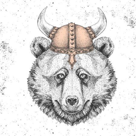 Hipster animal bear wearing a viking helmet. Hand drawing Muzzle of bear