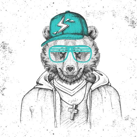 Hipster animal bear dressed in cap like rapper. Hand drawing Muzzle of bear