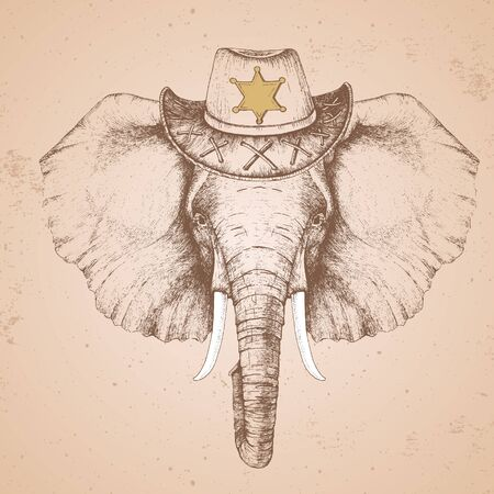 Retro Hipster animal elephant with sheriffs hat. Hand drawing Muzzle of animal elephant Ilustrace