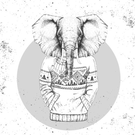 Retro Hipster fashion animal elephant dressed up in pullover. Hipster animals  イラスト・ベクター素材