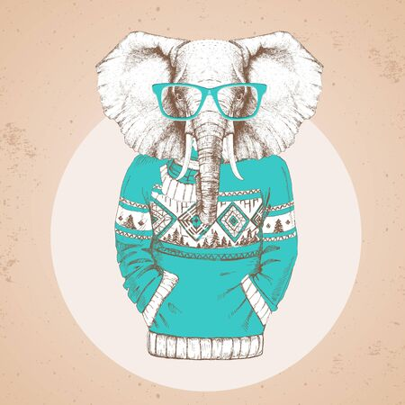 Retro Hipster fashion animal elephant dressed up in pullover. Hipster animals Stock Illustratie