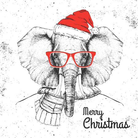 Christmas Hipster fashion animal elephant dressed in New Year hat and scarf  イラスト・ベクター素材