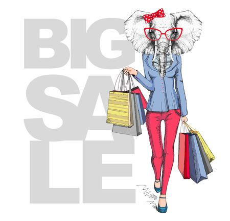 Retro Hipster animal elephant. Big sale hipster poster with woman model 矢量图像