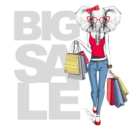 Retro Hipster animal elephant. Big sale hipster poster with woman model Illustration