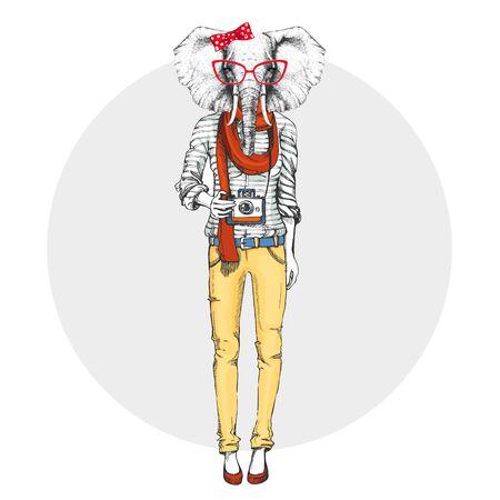 Retro Hipster animal elephant with photo camera. Woman model  イラスト・ベクター素材