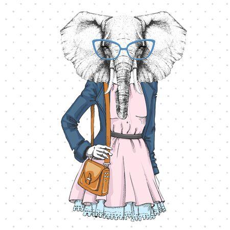 Retro Hipster fashion animal elephant. Woman model