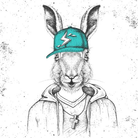 Hipster animal rabbit dressed in cap like rapper. Hand drawing Muzzle of bunny
