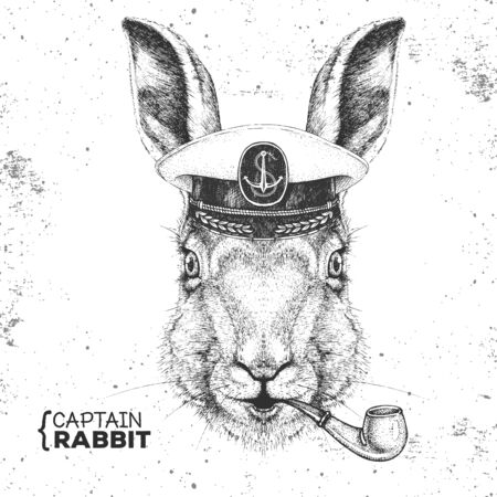 Hipster animal rabbit in captains cap and smoking pipe. Hand drawing Muzzle of bunny