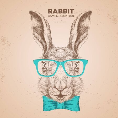 Hipster animal rabbit. Hand drawing Muzzle of bunny