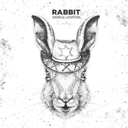Retro Hipster animal rabbit with sheriffs hat. Hand drawing Muzzle of animal bunny
