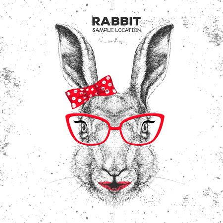 Retro Hipster animal rabbit. Hand drawing Muzzle of animal bunny. Girl of 60s  イラスト・ベクター素材