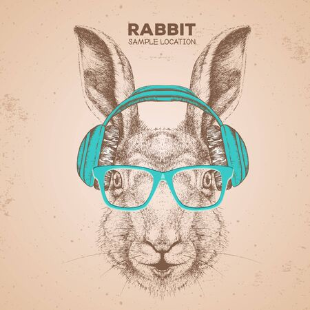 Hipster animal rabbit with headphones. Hand drawing Muzzle of animal bunny