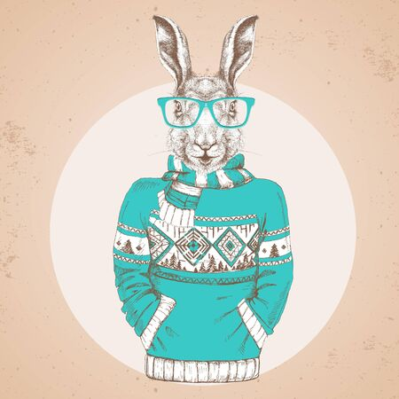 Retro Hipster fashion animal rabbit dressed up in pullover.