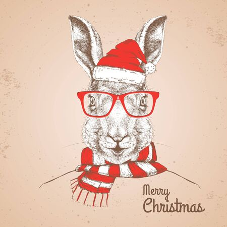 Christmas Hipster fashion animal rabbit dressed in New Year hat and scarf  イラスト・ベクター素材
