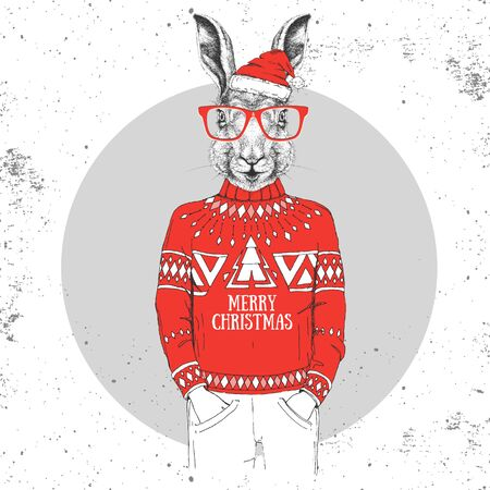 Christmas Hipster fashion animal rabbit dressed in New Year hat and pullover  イラスト・ベクター素材
