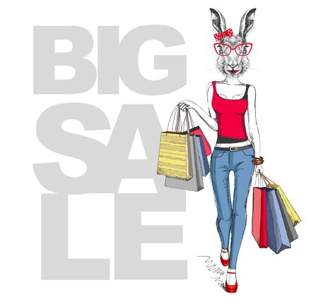 Retro Hipster animal rabbit. Big sale hipster poster with woman model