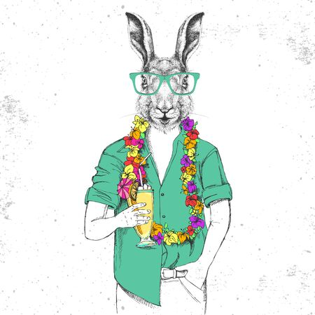Retro Hipster animal rabbit with tropic cocktail