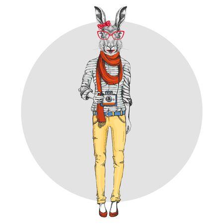 Retro Hipster animal rabbit with photo camera. Woman model