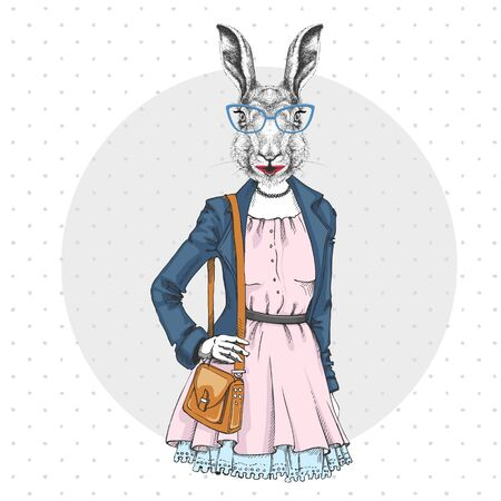 Retro Hipster fashion animal rabbit. Woman model