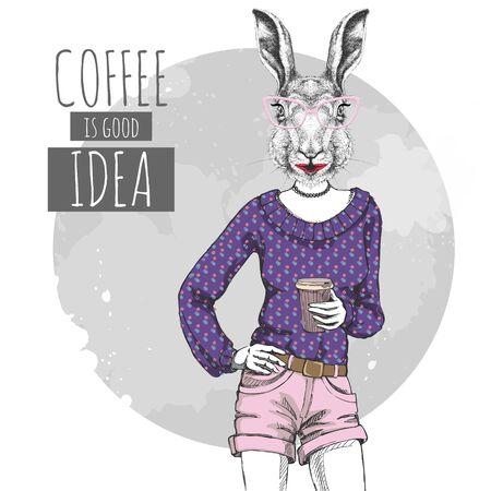 Retro Hipster fashion animal rabbit with coffee. Woman model  イラスト・ベクター素材