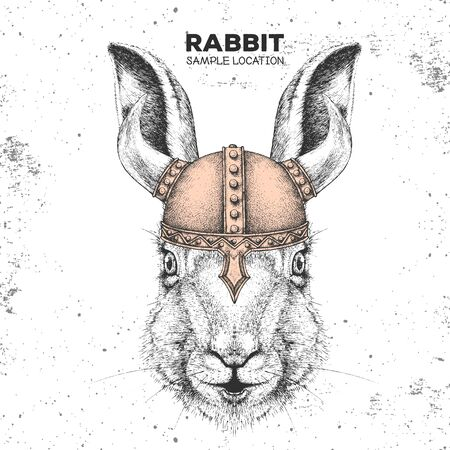 Hipster animal rabbit wearing a viking helmet. Hand drawing Muzzle of bunny