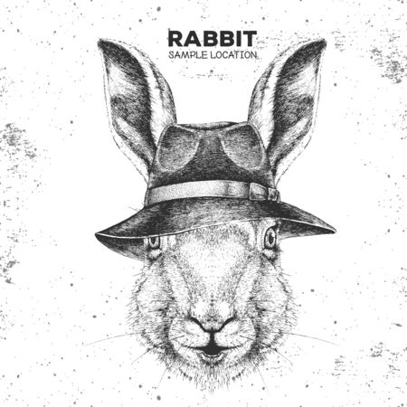 Hipster animal rabbit with hat. Hand drawing Muzzle of bunny