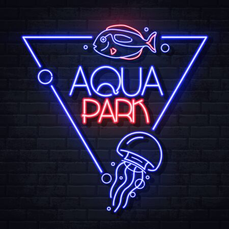 Neon sign aqua park with fish and jellyfish. Vintage electric signboard.