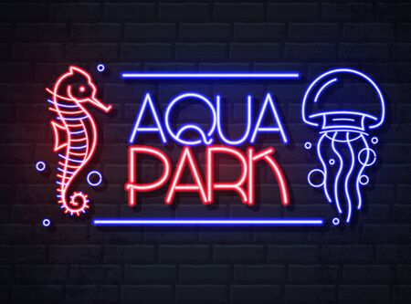 Neon sign aqua park with sea horse and jellyfish. Vintage electric signboard.