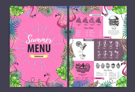Restaurant summer menu design with tropic leaves and flamingo. Fast food menu