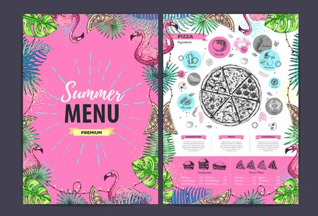 Restaurant summer pizza menu design with tropic leaves and flamingo. Fast food menu