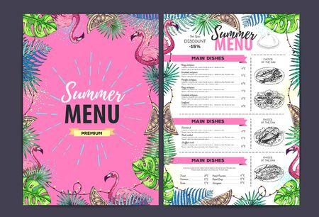 Restaurant summer menu design with tropic leaves and flamingo. Fast food menu