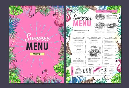 Restaurant summer menu design with tropic leaves and flamingo