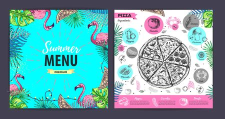 Restaurant summer pizza menu design with tropic leaves and flamingo. Fast food menu  イラスト・ベクター素材