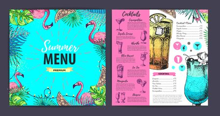 Restaurant summer cocktail menu design with tropic leaves and flamingo. Fast food menu