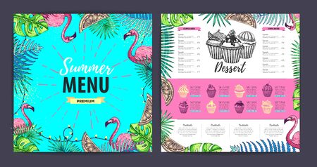 Restaurant summer dessert menu design with tropic leaves and flamingo. Fast food menu Ilustrace
