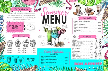 Hand drawing summer menu design with flamingo and tropic leaves. Restaurant menu Ilustração