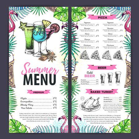 Hand drawing summer menu design with flamingo and tropic leaves. Restaurant menu Vettoriali